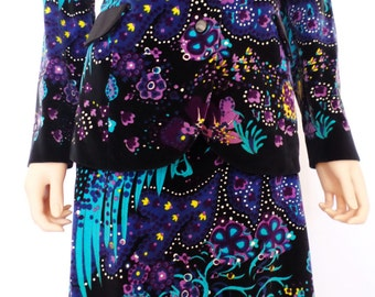 Vintage 1960's Mr. DiNo Women's VeLveT PsYcHeDeLiC PeAcoCk HiPPiE Maxi Skirt & Tuxedo Jacket - Couture Formal Outfit Dress M 12