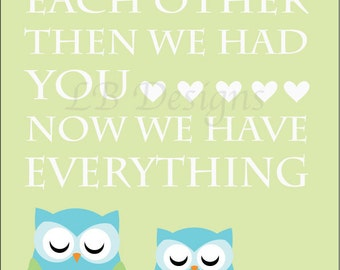 Owl Nursery Print, Woodland Nursery Decor, Fox Nursery Art, Boy Nursery Decor, Owl Family, Aqua Nursery, Gift for New Baby, Woodland Print