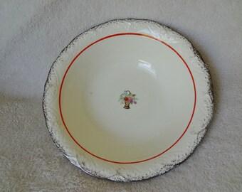 Vintage Vernon California Sterling Silver Trimmed Serving Bowl