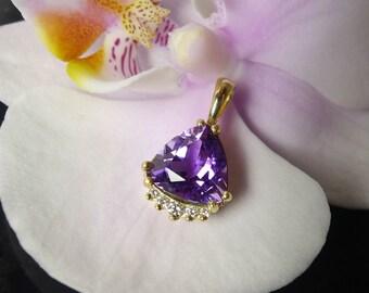 Amethyst Pendant, Amethyst Gold Pendant, Purple Amethyst, February Birthstone, February Birthday,   Purple Amethyst Pendant, Diamond Pendant