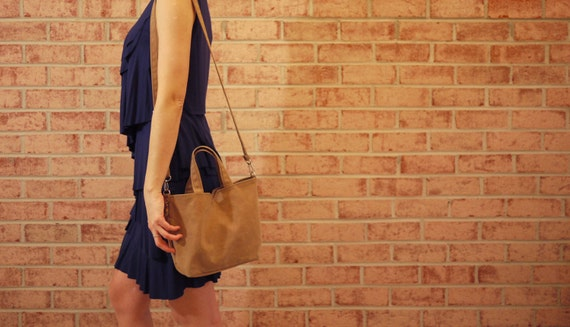 Waxed Canvas Small Tote Messenger- Vegan Cross Body Day Bag