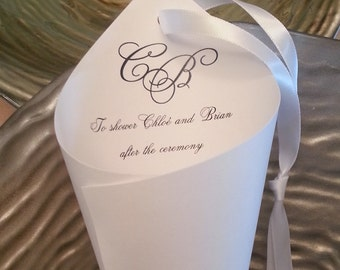 50  White or Ivory Initial petal cone with Hanging ribbon