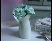 "Pitcher (Jug) with roses. ""Mint green"". Dollhouse. Home decor. 1/12th scale"