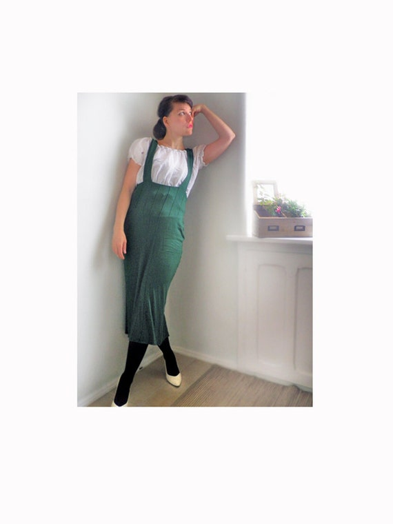 vintage 90s skirt suspenders tight green green by