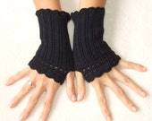 Black lace fingerless gloves victorian style, woman arm warmer