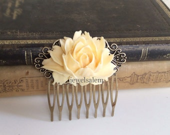 Cream Wedding Comb Ivory Hair Accessories Bridal Woodland Large Rose Big Flower Comb Light Pale Yellow Bridesmaids Head Piece Shabby Chic WR