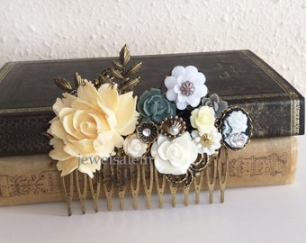 Ivory Wedding Comb Cream Headpiece Bridal Hair Accessories Bridal Comb Accent of Gray, Black, White Flowers Brass Leaves Hair Slide JW