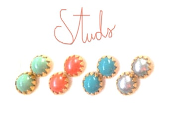 Small Stud Earrings in Any Color - Great Gift Idea