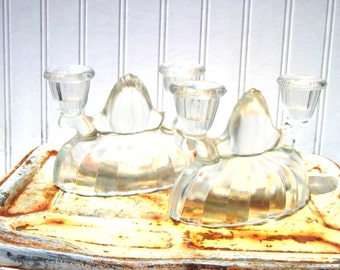 Pair of Victorian  candle holders pressed glass gouble taper candles