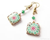 Mediterranean ceramic tile pattern earrings. Spain, Portugal, Italy. Geometric pattern