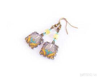 Floral tile Earrings with vintage drawings. Turquoise, white, grey and yellow. Herbal earrings. Arabesque. Swedish colors