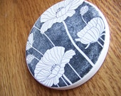 cup holder coaster, wine glass coaster - hand stamped bisque tile, absorbent -- poppies