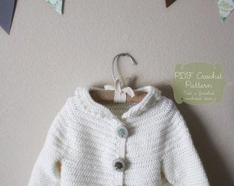 Crochet Pattern: The Nora Jane Cardigan-Sizes 3months to 3 T-peter pan collar, yoke neck, simple, winter white, heirloom, keepsake crochet