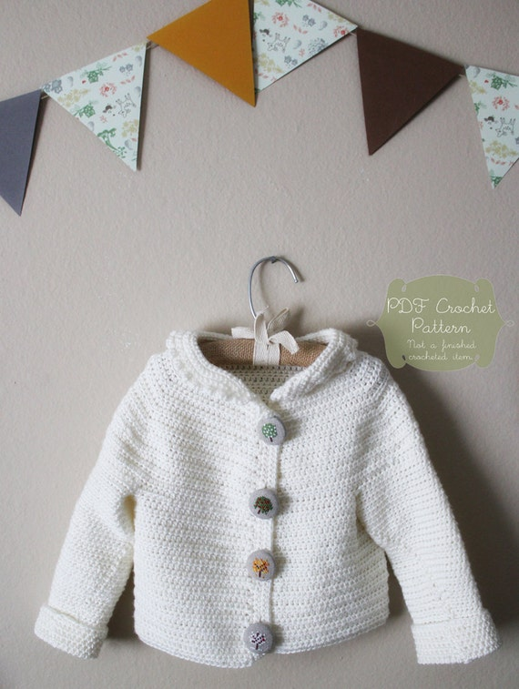 Crochet Pattern: The Nora Jane Cardigan-Sizes 3months to 3 T-peter pan collar, yoke neck, simple, winter white, heirloom, keepsake crochet