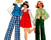 Girls Boho Jumper, Vest and Cuffed Pants, Smock Top, Back to School Vintage 70s Sewing Pattern, Size 7, Simplicity 5998, 1973