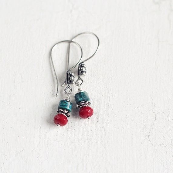 Chrysocolla and Coral Gemstone Earrings. Red and Turquoise Earrings on Sterling Silver