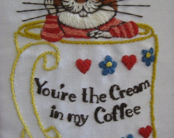 Vintage You're the Cream in my Coffee Mouse Embroidery