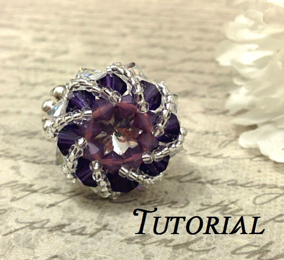 Tutorial PDF Swarovski Crystal Rivoli Cocktail Ring, Instant Download