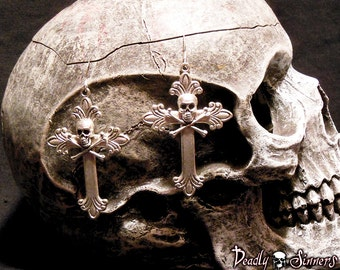 Hot Rocker Silver Skull Cross Earrings