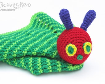 Caterpillar Lovey CROCHET PATTERN instant download - blankey, blankie, security blanket