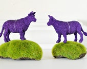 Purple Cow Glitter Ornaments. Farm Animal Lover Gift Set of 2 Geekery Home Decor, Party Favors, Decoration, Wedding Favors