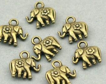 Elephant Charms Antique Bronze 8pcs zinc alloy pendant beads 11X12mm CM0432B