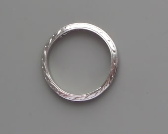 Art Deco Platinum Eternity Ring. Wedding Band. 3 Sided Wheat. Foliate. Leaves. Stacking. J 4.75