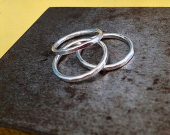 Stack Ring Trio STERLING Simple Textured/ Wear Together or Separately