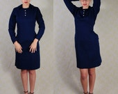 Authentic 1960s nurse's dress / uniform from Johns Hopkins hospital in Batlimore, MD / health uniform / navy blue dress