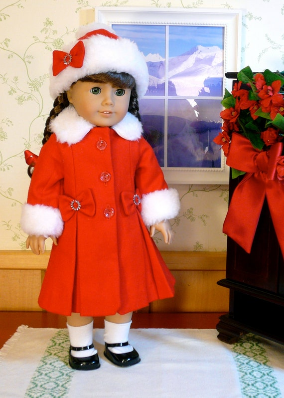 American girl 18 inch doll clothes handmade red wool winter for Garden tools for 18 inch doll