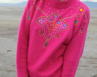 Glitzy Kitten - 90s Vintage Silk Angora Bright Pink Sweater, Slouchy Jewels, Small