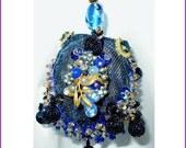 CIJ Sale: OOAK Vintage Jewelry Ornament - Blue Aurora Borealis (AB) Rhinestones, Swarovski Crystals - MarlosMarvelousFinds