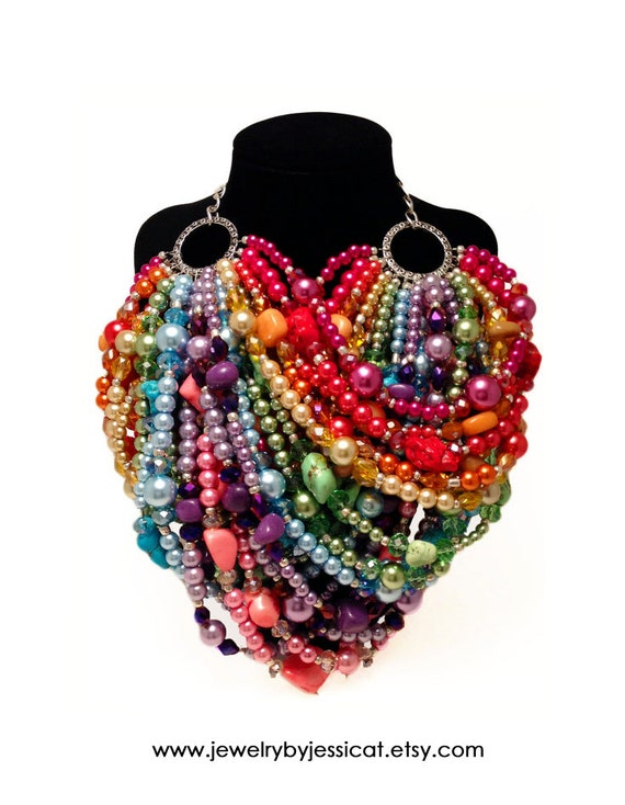 SUPER STATEMENT Necklace, Rainbow, Pink, Purple, Yellow, Orange, Green, Blue, Multi-strand, Stones, Crystals, Jewelry by Jessica Theresa