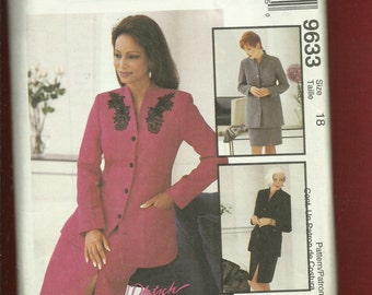McCalls 9633 Mother of The Bride Suit with Raised Collar Jacket & Straight Skirt Size 18 UNCUT