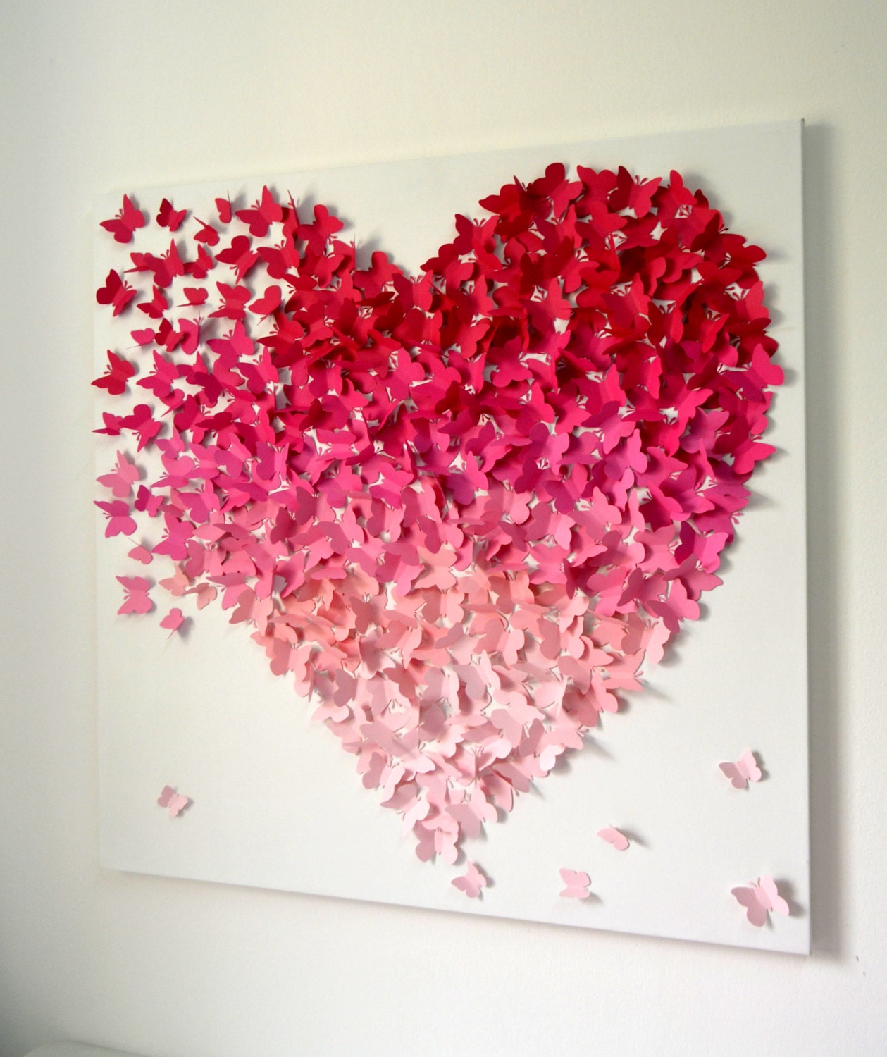 Modern 3d butterfly wall art for girls room nursery wedding for Pink wall art