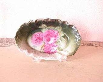 R.W. Bavaria Nut Dish/Olive Dish/Relish Vintage Rose Pattern