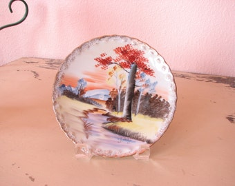 Hand Painted Plate - Forest Scene with Creek - Gold Trim