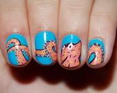 Nail polish strips. TWO SETS of Nail decal wraps. Octopus nail art.