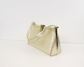 Vintage 1960s Pale Gold Evening Bag - Frame Purse