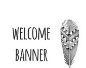 Etsy Shop Banner Instant Download : Etsy Shop Banner, 760X100, Welcome Banner, Black and White, Graphic Design, Feather, Birds on a Wire