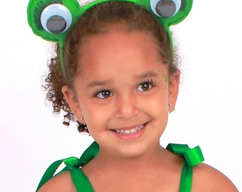READY TO SHIP: Enchanted Toad - Frog Eyes Costume Headband - Green - Fits toddler to adult - Cutie Patootie Designz