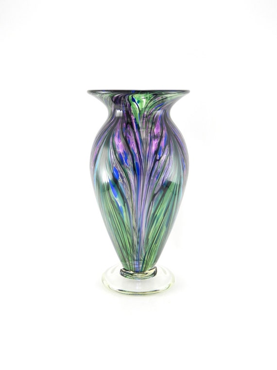 Hand Blown Art Glass Vase Hyacinth Purple Turquoise And