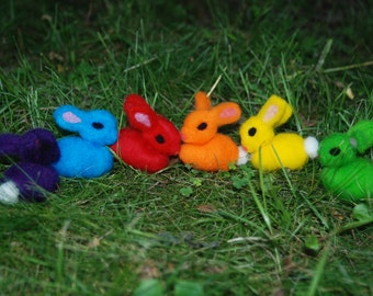 Rainbow Bunnies Needle Felted Set of 6 Sensory Touch Soft