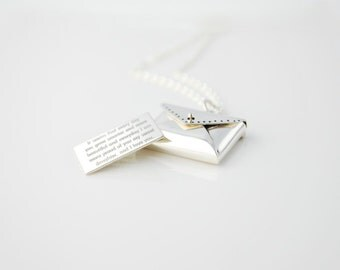 Unique Envelope Locket  - Secret letter necklace in sterling silver personalized in any way and in any font or your own handwriting