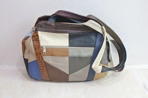 Vintage 80's Patch Leather Handbag Purse