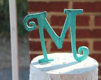 Rustic distressed wood curly letter initial wedding cake topper. Turquoise or custom color.