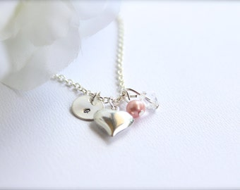 Real Pink Pearl Sterling Silver Hand Stamped Personalized Initial Charm Necklace Silver Puff Heart, Flower Girl Gift -- FREE Gift Packaging