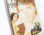 PRIDE and PREJUDICE Jane Austen Notebook Journal upcycled spiral notebook Recyled Repurposed Vhs movie
