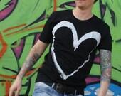 """Men T-Shirt """"Heart"""" white black"""
