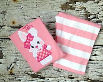 Easter Pajamas - Bunny Pjs - Pink/White Striped Pajamas - Rabbit Outfit - Girl PJs